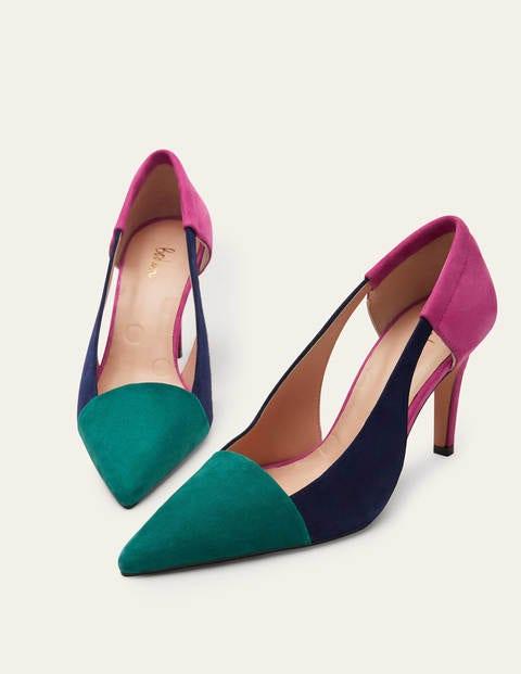 Cut Out Suede Court Shoes
