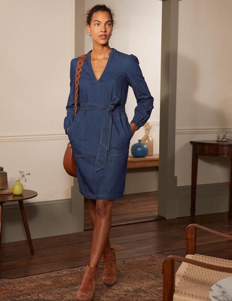 Esmeralda Kleid mit Taillengürtel - Mittleres Vintageblau, Denim