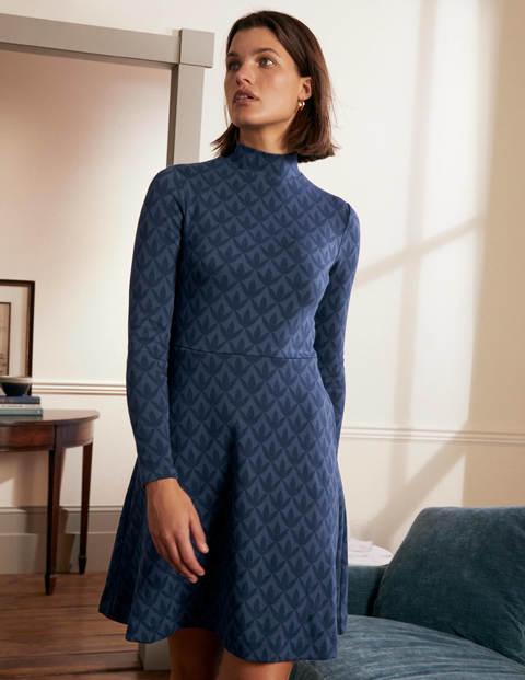 High Neck Jacquard Dress - Night Blue, Petal Geo