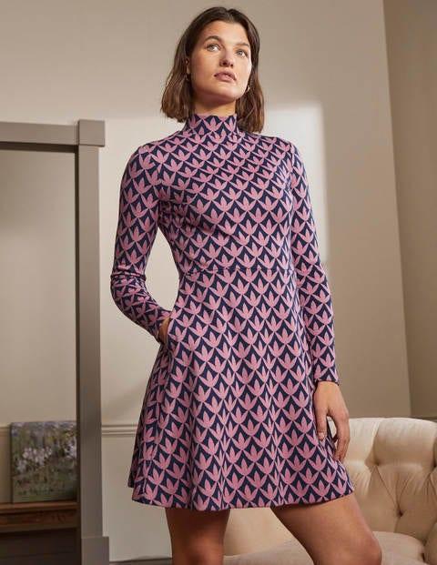 High Neck Jacquard Dress