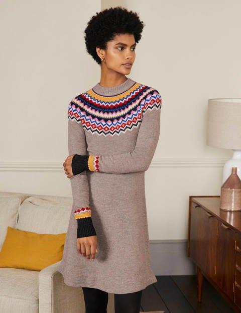 Millie Fair Isle Knitted Dress - Mink Melange