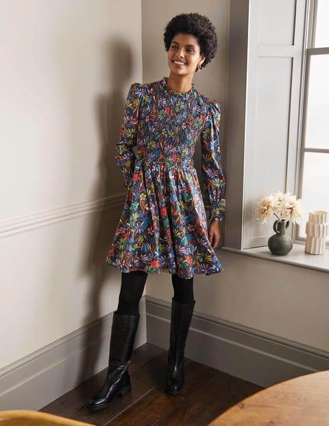 Frill Neck Smocked Dress