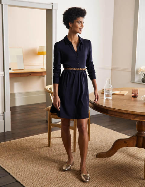 Alma Jersey Shirt Dress - Navy