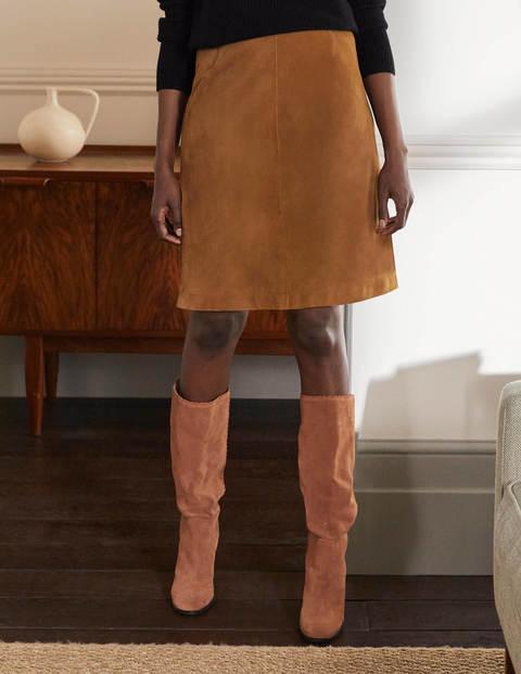 Lilian Suede Mini Skirt - Camel