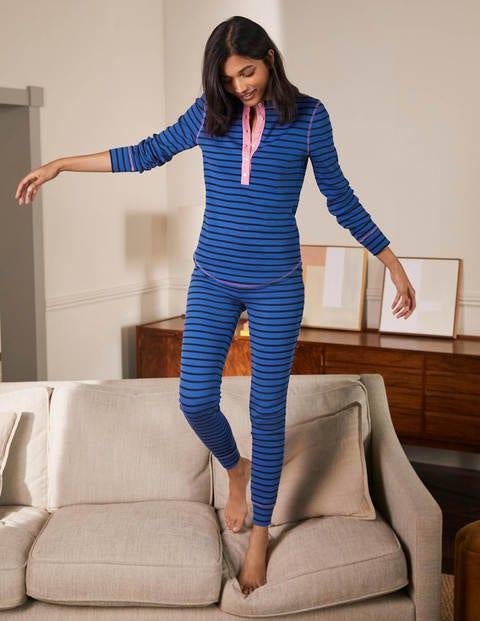 Ribbed Pyjama Leggings - Porcelain Blue and Navy Stripe