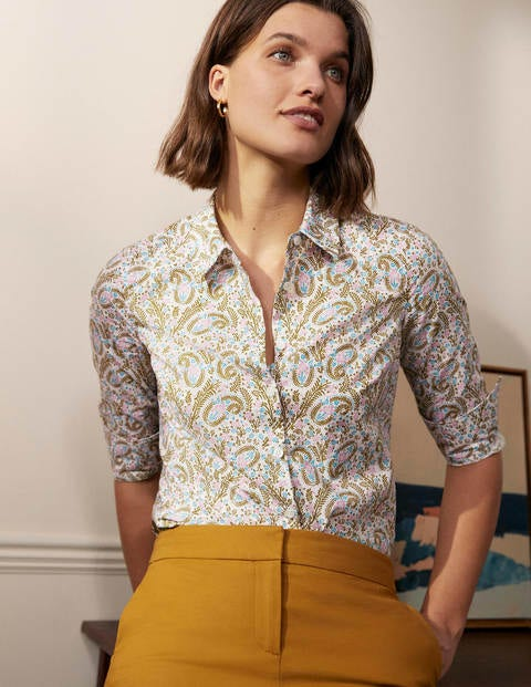 The Cotton Shirt - Ivory Coconut, Floral Paisley