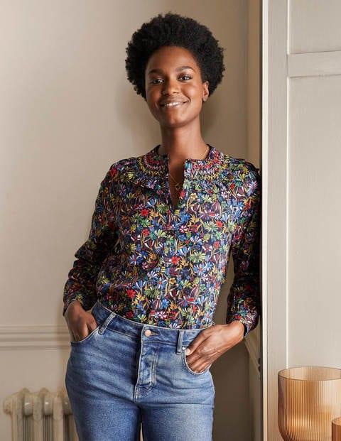 Leandra Smocked Cotton Shirt