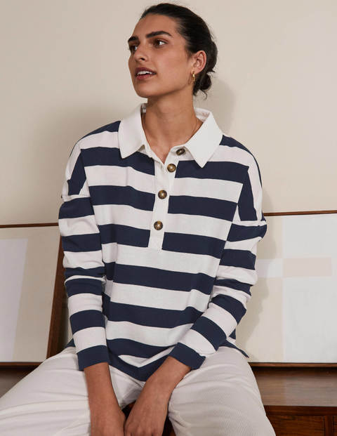 Phillipa Rugby Top - Navy/Ivory