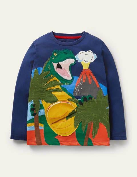 T-Shirt mit Tierapplikation mit zwei Klappen