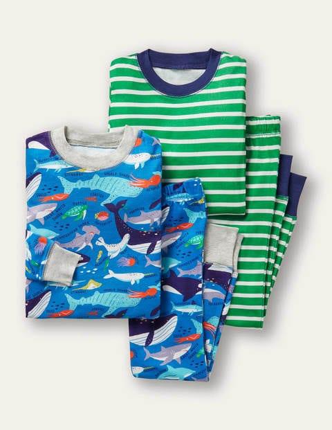 Langer Schlafanzug mit anliegender Passform im 2er-Pack