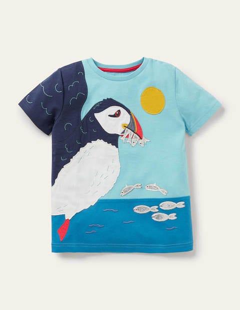 T-Shirt mit Papageitaucher-Applikation