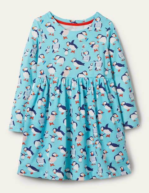 Fröhliches Jerseykleid mit langen Ärmeln