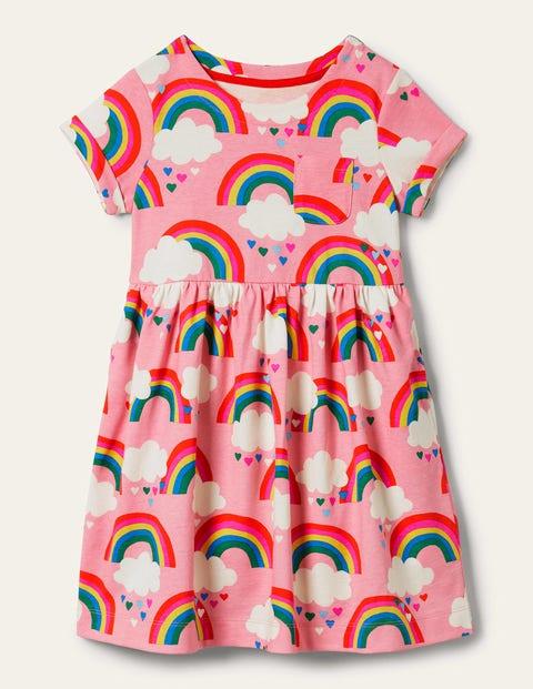 Fröhliches Jerseykleid mit kurzen Ärmeln