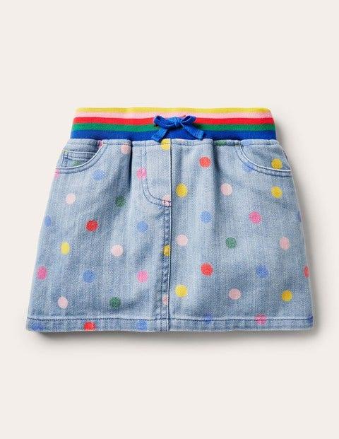 Rainbow Rib Denim Skirt