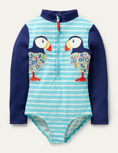 Long-sleeved Appliqué Swimsuit