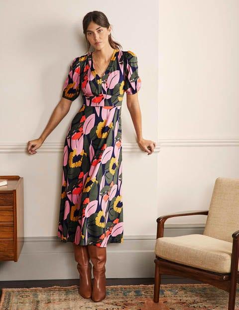 Puff Sleeve Ponte Midi Dress