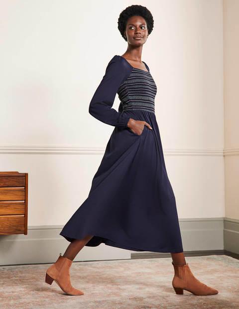 Square Neck Smocked Midi Dress