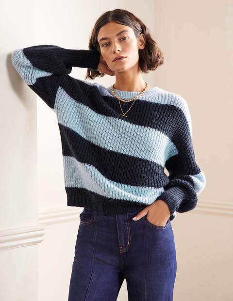Flauschiger Pullover mit gerafften Blousonärmeln
