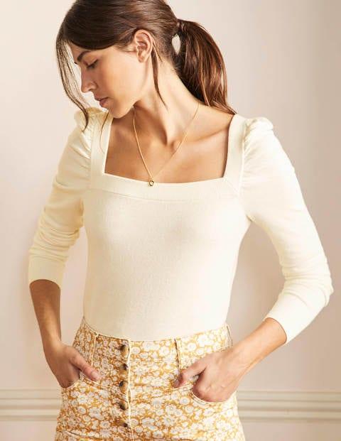 Pullover mit eckigem Ausschnitt und Puffärmeln