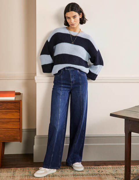 Wide Leg Seam Detail Jeans