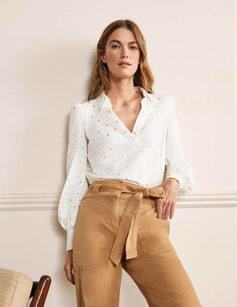 Collared Notch Neck Cotton Top