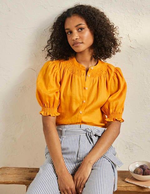 Smocked Short Sleeve Shirt