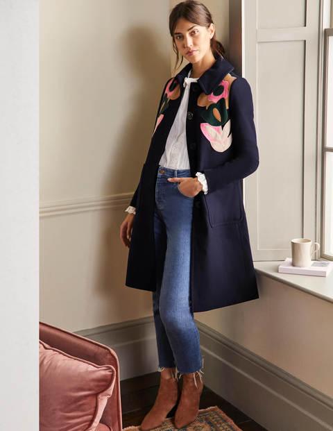 Mantel mit Blumenapplikation