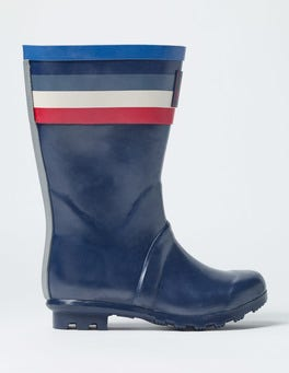 Navy Multi Stripe Printed Wellies