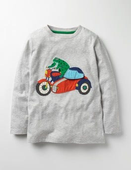 Grey Marl Motorcycle Novelty Vehicle T-shirt