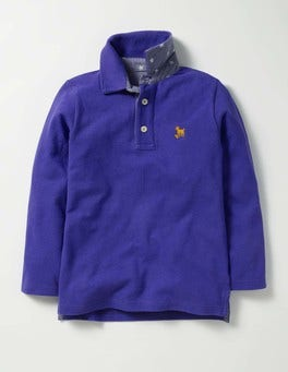 Gymnasium Blue Long-sleeved Piqué Polo Shirt
