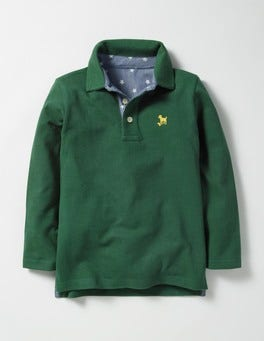Willow Green Long-sleeved Piqué Polo Shirt
