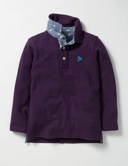 Winter Purple Long-sleeved Piqué Polo Shirt