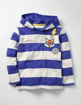 Gymnasium Blue/Ecru Stripy Patch Hoodie