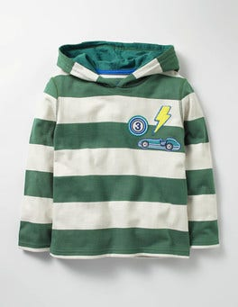 Willow Green/Ecru Stripy Patch Hoodie