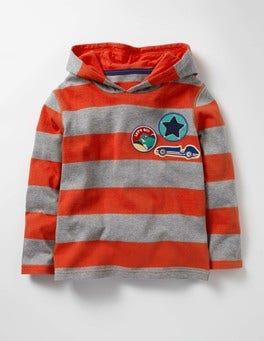 Ziggy Red/Grey Marl Stripy Patch Hoodie