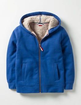 Klein Blue Borg-lined Zip-up Hoodie