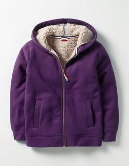 Winter Purple Borg-lined Zip-up Hoodie