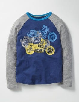 Beacon Blue Motorcycles Graphic Raglan T-shirt