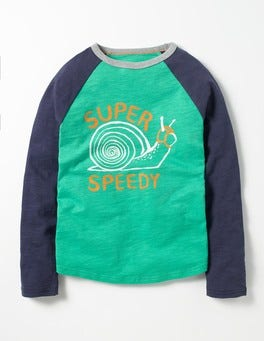Astro Green Snail Graphic Raglan T-shirt
