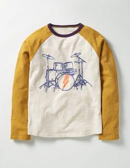 Ecru Drums Graphic Raglan T-shirt