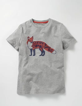 Grey Marl Fox Graphic T-shirt