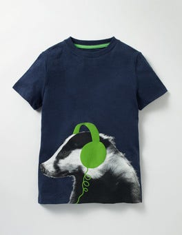 Navy Marl Badger Photographic T-shirt
