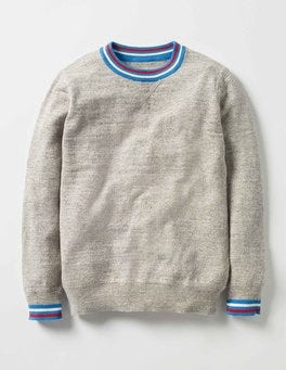 Grey Slub Marl Sporty Crew Jumper