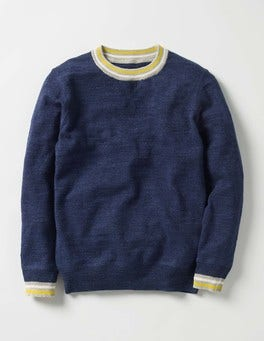 Navy Slub Marl Sporty Crew Jumper