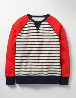 Ecru/Navy Sporty Sweatshirt
