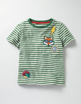 Willow Green/Ecru Stripy Patch T-shirt