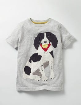 Grey Marl Spaniel Big Appliqué T-Shirt