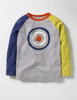 Grey Marl Target Colourblock Graphic T-shirt