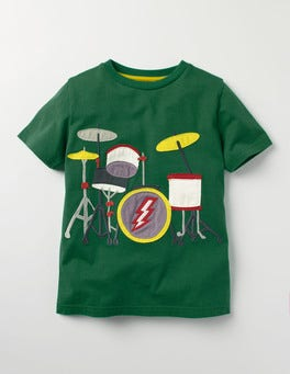 Timber Green Drums Music Appliqué T-shirt