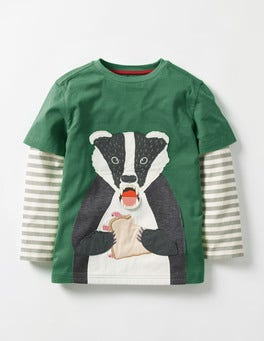 Willow Green Badger Layered Fun Animal T-shirt